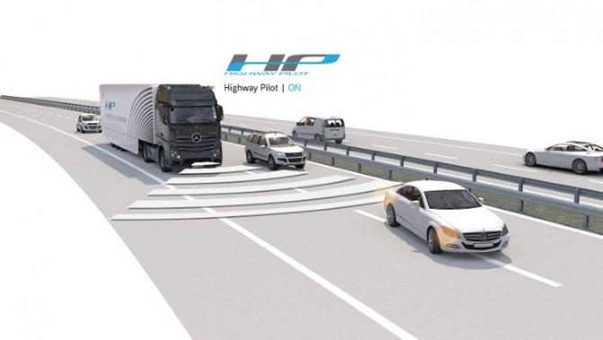 Вантажний автомобіль Mercedes-Benz Actros з системою автоматичного водіння Daimler Pilot рухається по німецькій автомагістралі (відео)